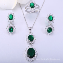 2018 Prong setting green glass with white CZ dubai jewelry set