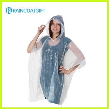 Cheap Transparent Disposable PE Rain Poncho Rpe-020