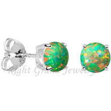 316L Surgical Stainless Steel 5MM Opal Jewelled Ear Studs Piercing
