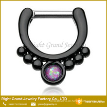 Black Titanium Chirurgenstahl Opal Septum Clicker Jeweled