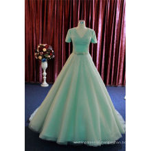 Green Short Sleeve Prom Party Cocktail Evening Dress