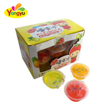 Halal jelly cup candy big fruity flavors jelly with pulp jelly