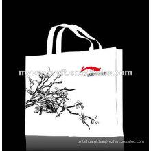 Padrão chinês branco elegante bolsa de compras não tecida