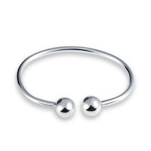 Pulseira de prata esterlina sólida simples estilo cuff