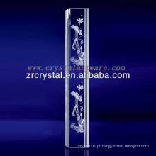 K9 3D Laser Lotus gravado de cristal com forma de pilar