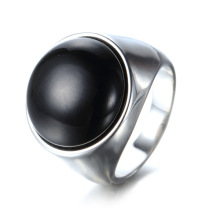 Men Black Signet Enamel Ring Jewelry