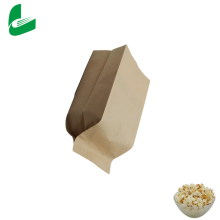 Custom disposable kraft food packaging popcorn paper bags