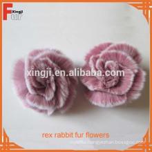 hand made rex rabbit fur flower