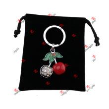 Sac en velours noir Sacs à logo pour cadeaux de Noël (PLB51204)