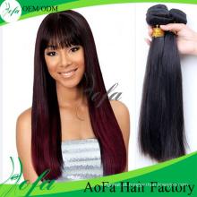 Peças de cabelo reto cambojano de qualidade superior Cabelo de tecelagem preto