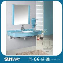 Elegante diseño de estilo moderno de pared montado en espejo de baño azul vaso de vidrio