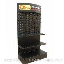 Customized Logo Metal Pegboard Floor Shelf Stand Tools Exhibition Display Rack