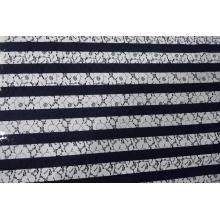 Tissu en dentelle de coton imprimé à rayures en nylon