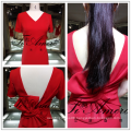 2017 Hollow Out Noble Red Sexy Open Back Evening Dress With Bow-Knot Short Skirt For Bridal Tiamero 1A967