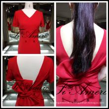 2017 Hollow Out Noble Red Sexy Robe de soirée à dos ouvert avec jupe courte à noeud pour mariage Tiamero 1A967