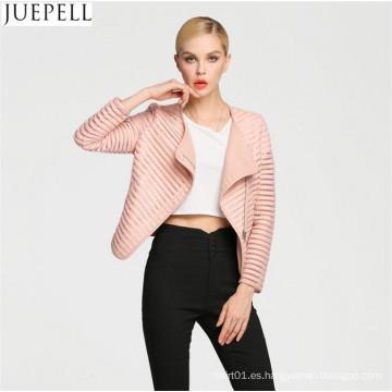 Spring Wild Hollow Short párrafo de la chaqueta de cuero de la PU Chaqueta de Europa y América Mujeres chaqueta de la capa delgada Facotry Precio al por mayor