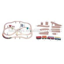 Trem de madeira ferroviária jogo de ponte jogo conjunto ferroviário modelo