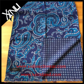 Paisley Geometrical Reversible Printed Scarf for Men in Blue Green Hand Made Scarf