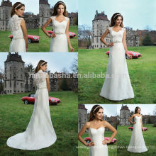 Fashion 2014 Satin Empire Wedding Dress With High Neck Cap Sleeve Lace Jacket New Arrival Garden Bridal Gown NB0654