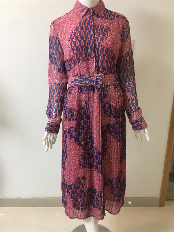Woman Printed Chiffon Dress