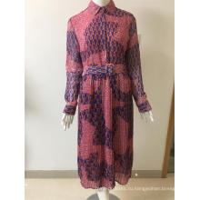 платье с поясом из шифона