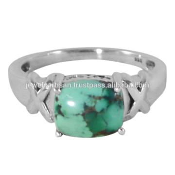 Natürlicher tibetischer Türkis Edelstein 925 Sterling Silber Ring
