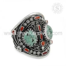 Высокое качество лучшие продажи Оптовая цена коралловый бирюзовый браслет 925 серебряные ювелирные изделия ручной работы ювелирные изделия оптовик
