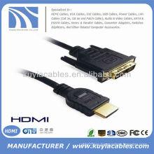Alta velocidad oro plateado HDMI a DVI 24 + 1 cable con Ethernet 1080p