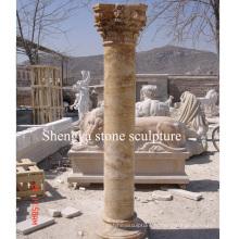 Colonne de marbre en sculpture sur pierre d'or (SY-C014)