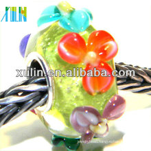 handmade various of color flower glass big hole beads