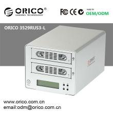 "ORICO 3529RUS3-L Gabinete de disco duro externo SATA de 3.5 ""con LCD + USB 3.0 + eSATA + RAID 0 / RAID 1 / JBOD"