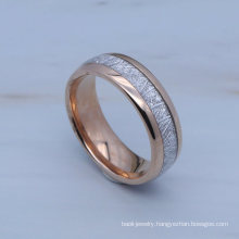 Fashion Men′s 8mm Wide Gold and Rose Gold Polished Meteorite Inlay Tungsten Carbide Ring