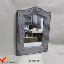 Massivholz-Rahmen-Wand-Weinlese-grauer Spiegel