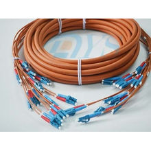 Orange Optical Fiber Patch Cord , Pre-terminated Fibre Optic Cable Lc