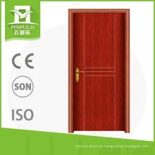 Puerta de entrada de pvc exterior con diseño de puerta frontal de madera con aislamiento térmico hecho en china