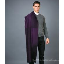 100% Bufanda de lana para hombre en color sólido Jacquare Bufanda de lana