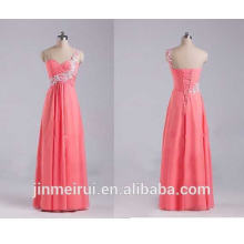 Coral Color One Strap Fashion Girls Dresses Chiffon Floor Length Formal Evening Gown Coral Evening Dresses Women