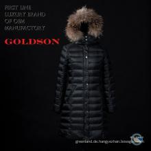 Russische modische Frauen lange Daunenjacke / Mantel mit großem Waschbär Pelz