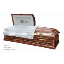 Estilo americano cedro folheado caixão de madeira (V9050033)