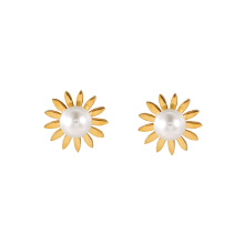 E-308 xuping simple fashionable flower shape plastic bead design women's stud earrings