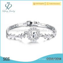 Platinum braceletes pulseira de prata, diamante senhoras pulseira desenhos