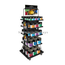 Material de decoração para o lar Loja de varejo Metal Revestimento de camada múltipla Color Oil Wall Paint Display Rack