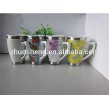 2015 en vrac libre BPA produit nouveau acheter de tasse en porcelaine de Chine double paroi, tasse en céramique, mug pour la sublimation avec poignée