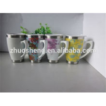 2015 new product BPA free bulk buy from china double wall porcelain mug, ceramic mug, mug for sublimation with handle