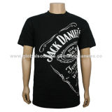 Men's round-neck black T-shirt with fashionable printing, comfortable fabric