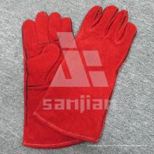 Gant de sécurité de soudure de catégorie d'Ab / Bc de cuir fendu rouge avec du CE