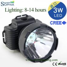 3W luz principal do diodo emissor de luz, lâmpada principal recarregável do diodo emissor de luz com Chip do CREE