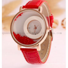 OEM Quicksand Ladies Quartz Watch with Leather Bracelet