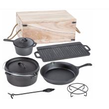 7-teiliges Gusseisen Holländischer Ofen Cooware Set