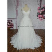Bescheidene Brautkleid Elfenbein ärmellose Gericht Zug Braut Kleid Fabrik